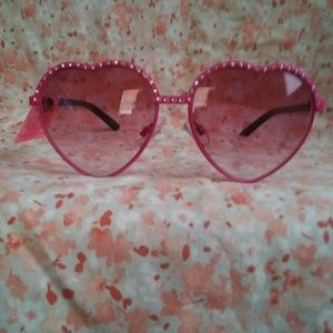 Betsey Johnson Heart Rhinstone Sunglasses